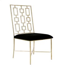 Silver Leaf Dining Chair W. Black Velvet Seat Seat Height - 18.5""