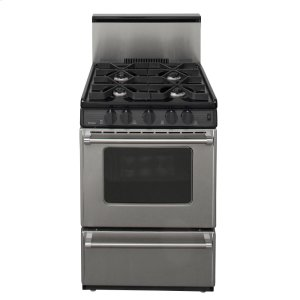 Premier24 in. Freestanding Sealed Burner Gas Range in Stainless Steel
