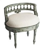 This elegant hand painted vanity seat adds formal elegance to any powder or dressing room. Hand crafted from poplar hardwood solids and wood products, it features a carved solid wood back and legs. The generously-sized, upholstered seat cushion is covered Product Image