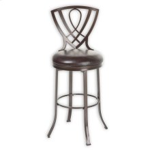 Lincoln Metal Barstool with Chocolate Upholstered Swivel-Seat and Brown Crystal Frame Finish, 30-Inch