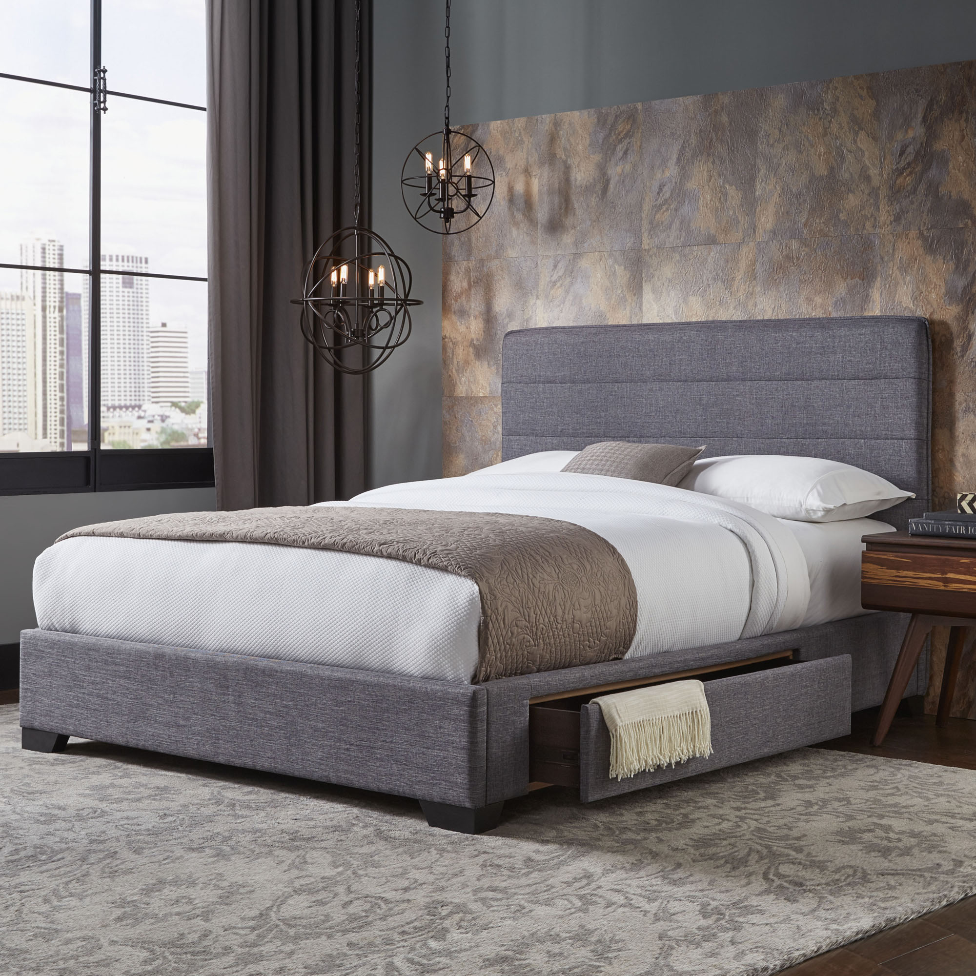 Oliver Storage Bed With Upholstered Frame And Single Side Drawer, Gravel  Grey Finish, Queen