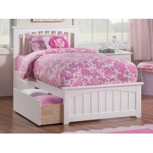 Mission Twin XL Bed with Matching Foot Board with 2 Urban Bed Drawers in White
