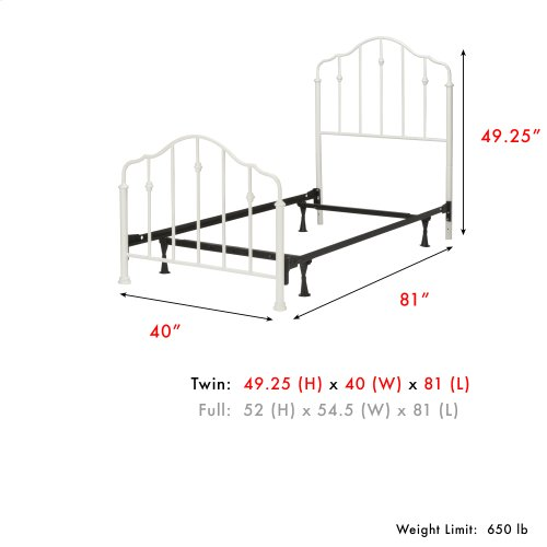 Lorna Fashion Kids Complete Metal Bed and Steel Support Frame with Delicate Arches and Accented Spindles, Warm White Finish, Twin