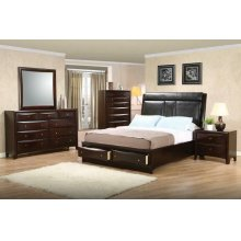 Phoenix Cappuccino Upholstered King Five-piece Bedroom Set