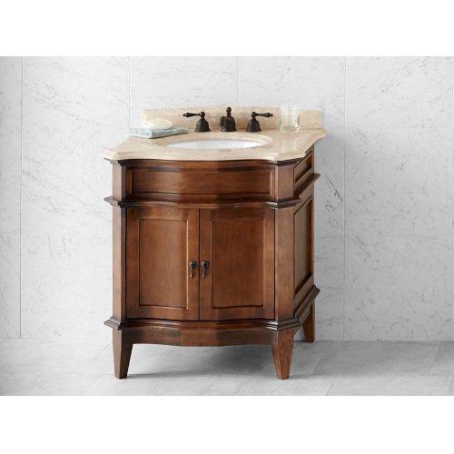 """Solerno 30"""" Bathroom Vanity Cabinet Base in Café Walnut"""