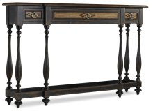 Living Room Sanctuary Three Drawer Thin Console (Ebony/Drift)