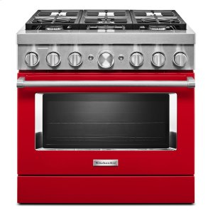 KitchenaidKitchenAid® 36'' Smart Commercial-Style Dual Fuel Range with 6 Burners Passion Red