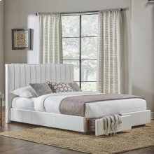 Delaney Storage Bed with Faux-Leather Upholstered Frame and (2) Footboard Drawers, Polar White Finish, Queen