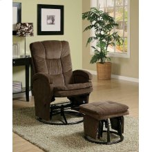 Casual Chocolate Reclining Glider With Matching Ottoman