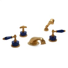 Antique Gold Semiprecious Empire Lever Deck Mount Tub Set with Classical Hand Shower