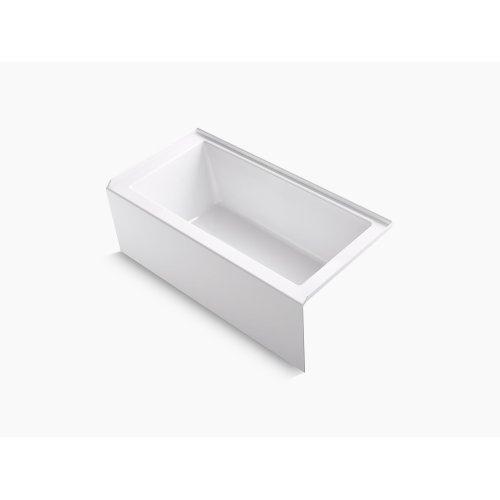 """White 60"""" X 30"""" Alcove Bath With Integral Apron, Integral Flange, and Right-hand Drain"""