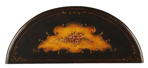 Unique hand painted design on hardwood frame. Drawer with wood knob.