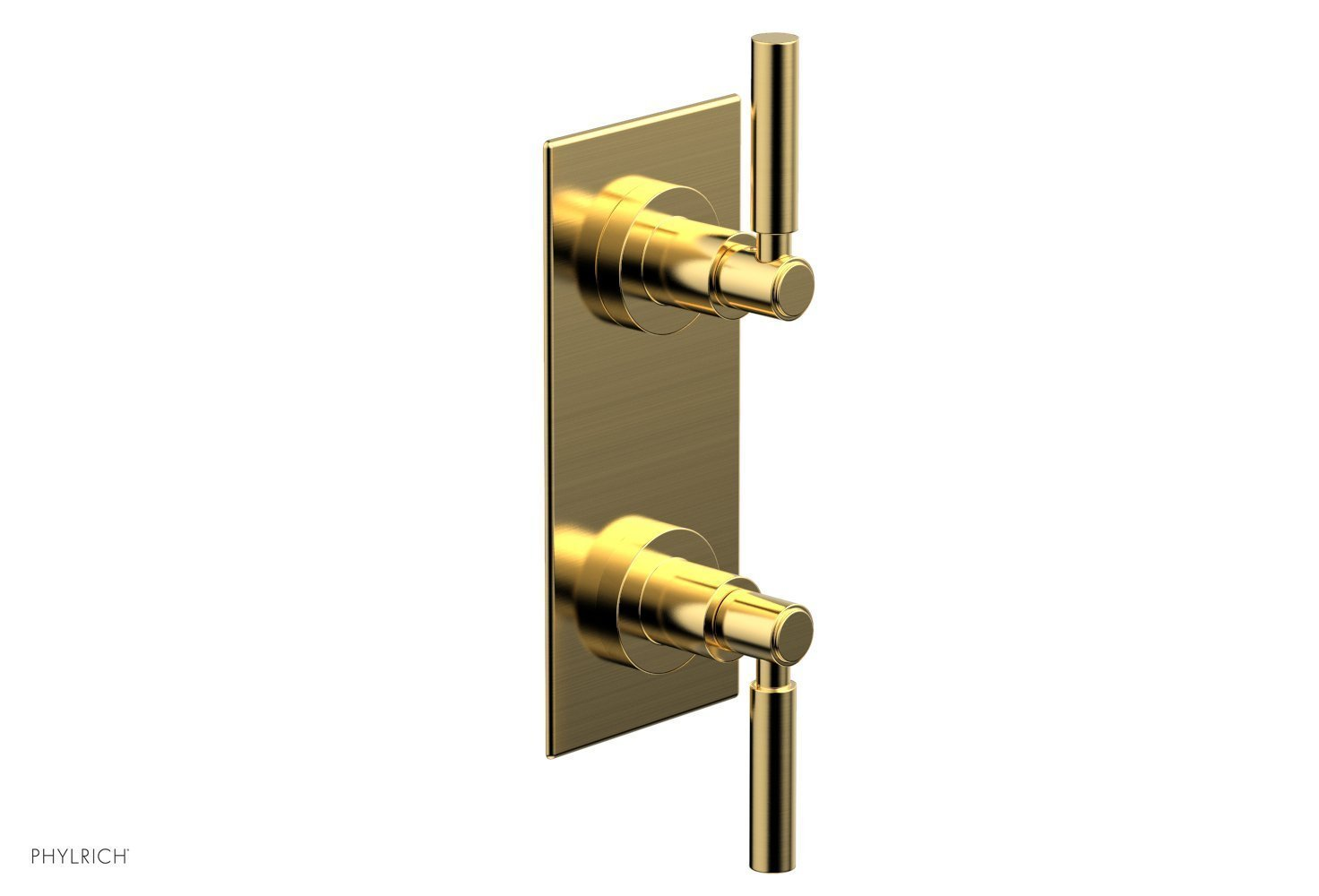 """BASIC 1/2"""" Thermostatic Valve with Volume Control or Diverter Lever Handles 4-344 - Satin Gold"""