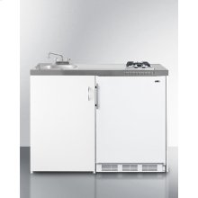 """48"""" Wide All-in-one Kitchenette With 2-burner Gas Cooktop, Cycle Defrost Refrigerator-freezer, Sink, and Storage Cabinet"""