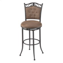 Helena Metal Barstool with Cocoa Microfiber Swivel-Seat and Umber Metal Frame Finish, 30-Inch