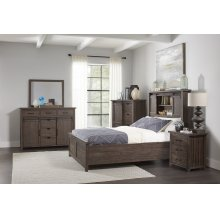Madison County 5 PC Queen Barn Door Bedroom: Bed, Dresser, Mirror, Nightstand, Chest - Barnwood