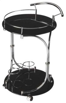 A mobile party, this Lola serving cart is sure to make your space more functional. The black tempered glass and chrome details of this serving cart make it chic and stylish.