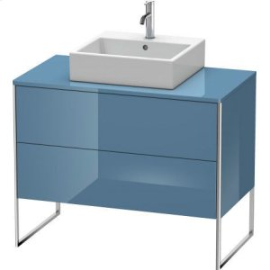 Vanity Unit For Console Floorstanding, Stone Blue High Gloss Lacquer