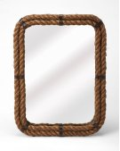 A rather unique piece, this rectangle wall mirror's iron frame is covered with rustic rope. Great for nautical spaces, entryways, bathrooms, or anywhere you want to feel the peaceful seaside. Product Image