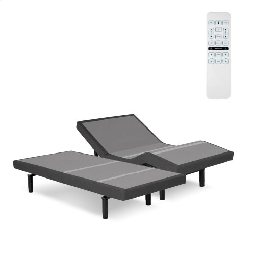 Surge Adjustable Bed Base with Full Body Massage and Wallhugger Technology, Flint Onyx Finish, Split King