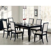 Louise Transitional Black Rectangular Dining Table