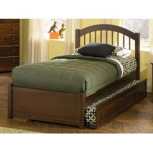 Windsor Twin Flat Panel Foot Board with Raised Panel Trundle Walnut