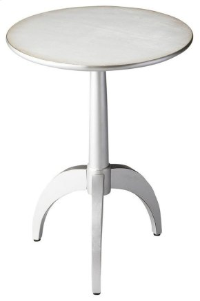 This sleek pedestal table is a sophisticated addition to any modern space. Crafted from poplar hardwood solids and wood products, it features a pearlesque silver finish over birch veneers.