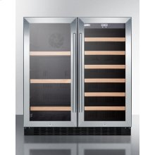 "30"" Wide Built-in Undercounter Dual Zone Wine and Craft Beer Cooler With Locks, Digital Controls, and LED Lighting"