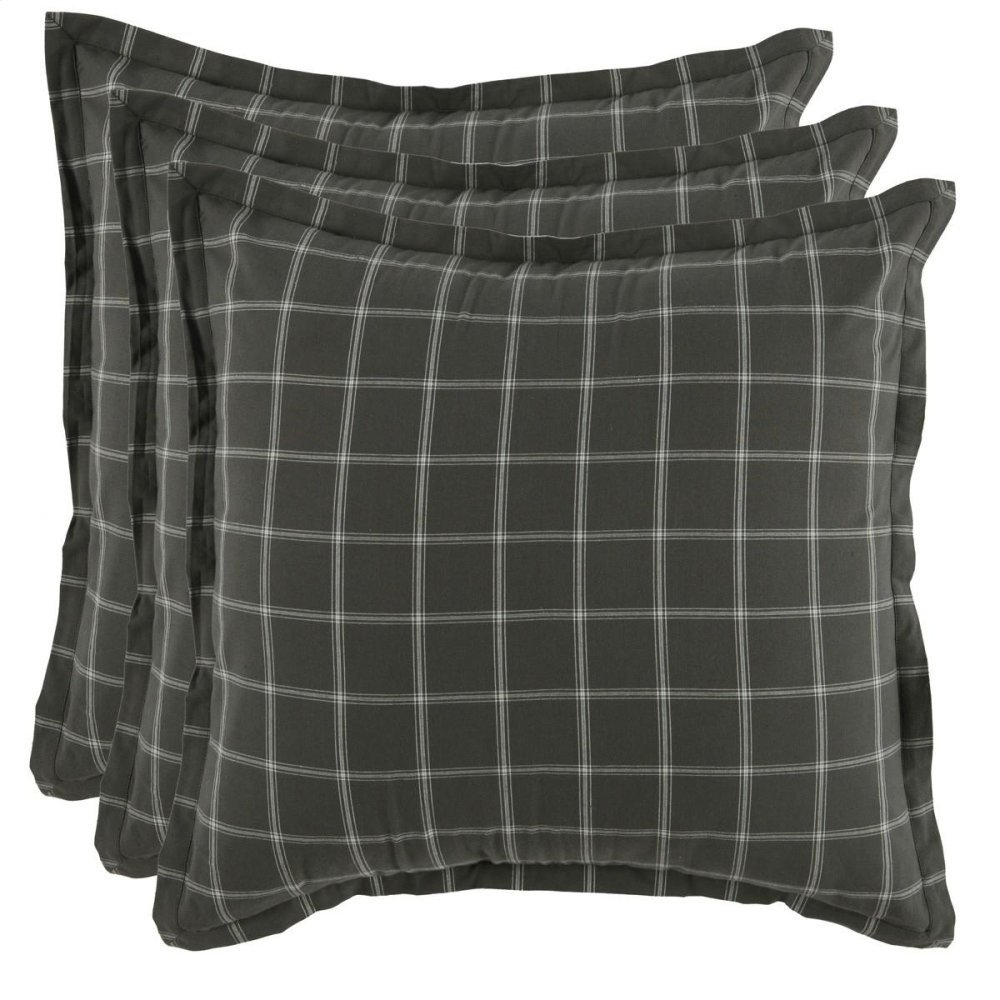 Hudson Plaid 3Pc Euro Sham Set
