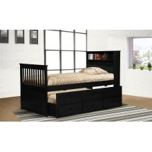 Avalon Black Twin Captain's Bed with Trundle & Storage Drawers