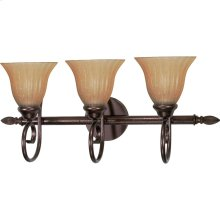 """3-Light 25"""" Copper Bronze Vanity Light Fixture with Champagne Linen Washed Glass"""