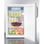 """Summit Commercially Listed ADA Compliant 20"""" Wide Freestanding Refrigerator-freezer With A Lock, Stainless Steel Door, Towel Bar Handle and White Cabinet"""