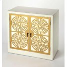 Defined by hand painted gold accent doors , this cabinet doubles as a storage and accent piece. Use it to keep serve ware and plates at-the-ready in the dining room, or use its 2 tiers to stack up board games and craft supplies in the den. Gold cabinet pu Product Image