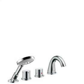 Polished Brass 4-hole rim mounted thermostatic bath mixer with zero handles