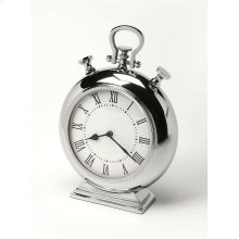 This desk clock is crafted in an chunky round shape that features Roman numerals over a white face, featuring a kick stand and a sturdy handle. The clock can be placed on any table or shelves , blends with a variety of decor. Makes a great gift.