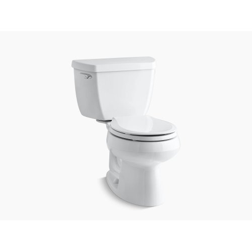 White Two-piece Round-front 1.28 Gpf Toilet With Class Five Flush Technology and Left-hand Trip Lever, Seat Not Included