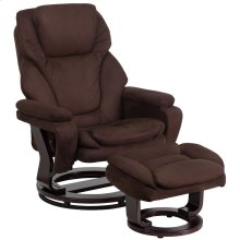 Contemporary Brown Microfiber Recliner and Ottoman with Swiveling Mahogany Wood Base