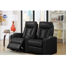 Camden Black Bonded Leather 2-Piece Reclining Theater Set