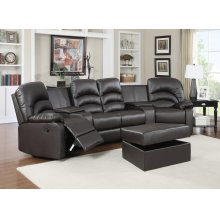 Ventura Brown Bonded Leather Reclining Theater Set with Storage Ottoman