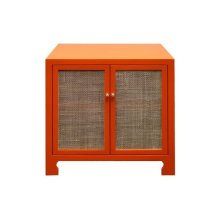 Two Door Cane Cabinet With Brass Hardware In Matte Orange Lacquer