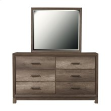 Framed Dresser Mirror in Elm Brown