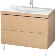 Furniture Washbasin C-bonded With Vanity Floorstanding, Brushed Oak (real Wood Veneer)