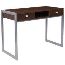 Dark Wood Grain Finish Desk with Silver Metal Frame