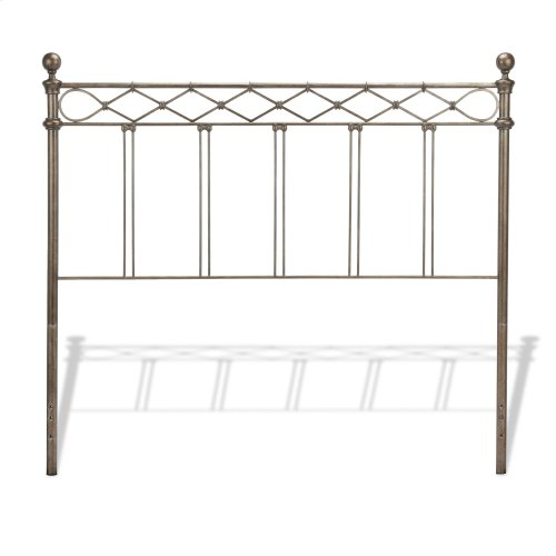Argyle Complete Bed with Round Finial Posts and Diamond Wire Metal Grill Design, Copper Chrome Finish, Full