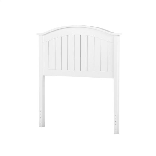 Finley Wood Headboard Panel with Curved Top Rail and Slatted Grill Design, White Finish, Full / Queen