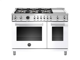 48 inch Dual Fuel Range, 6 Brass Burners and Griddle , Electric Self Clean Oven White