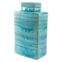 Tribal Covered Jar Blue
