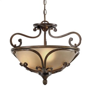 Loretto Semi-Flush (Convertible) in Russet Bronze with Riffled Tannin Glass