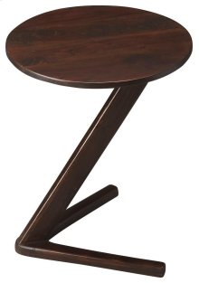 This intriguing accent table boasts a bold two-toed base and sharply angled pedestal giving it an undeniably modern flair. Crafted from acacia wood solids in a dark walnut finish.