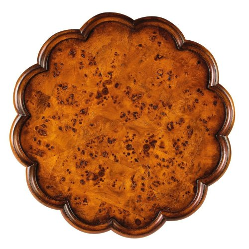 Selected solid woods and choice ash burl veneers. Four-way matched veneer top with pie crust frame. Resin appliqués.